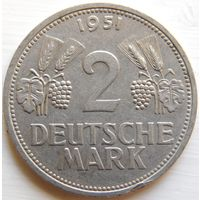 15. ФРГ, Германия 2 марки 1951 год F.