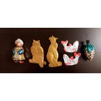 Елочные игрушки СССР в реставрацию Филипок Редкий золотой картонаж сова и пингвин Шишка Рыбка картонаж