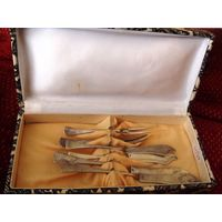 Набор  серебряных приборов 19 век Австро -Венгрия Модерн 108гр