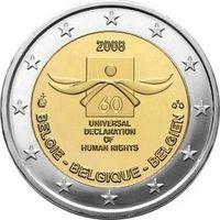 Бельгия 2 евро (60 лет Декларации прав человека), 2008