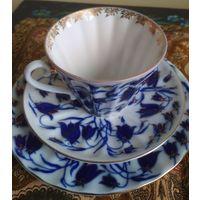 Чашка (Кружка) + Блюдце + Тарелка чайный набор тройка ЛФЗ костяной фарфор позолота ручная работа