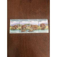 Танзания 1991. Африканские слоны. Сцепка