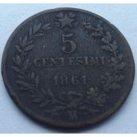 Италия. 5 чентезимо 1861.