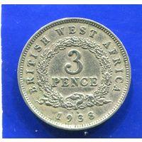 Британская Западная Африка 3 пенса 1938 KN