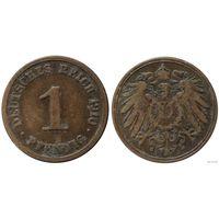 YS: Германия, Рейх, 1 пфенниг 1910J, KM# 10