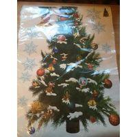 Наклейка елка к Новому году. Спешите приобрести. Размер листа 70 на 50. В наличии 2 штуки.