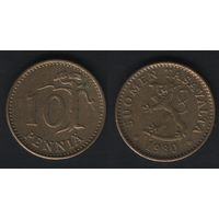 Финляндия km46 10 пенни 1980 год (K) (f34)