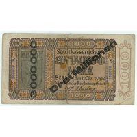 Германия, 3 миллиона марок 1923 год. (перепечатка с 1000 марок)