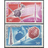 Спутники Габон 1966 год серия из 2-х марок