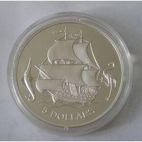 Багамские острова 5 Долларов 1993  Серебро (102)