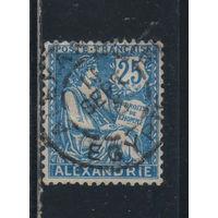 Франция Почта за рубежом Александрия 1902 Вып Республика тип Машон (щит) Стандарт #24