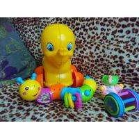 Каталка,  игрушка-шумелка слон-неваляшка гусеница игрушки развивающие