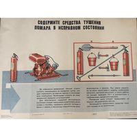 Плакат Содержите средства тушения пожара в исправном состоянии худ. Самарин 1978 год  размер 44 на 59 см