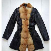 Шикарное кожаное пальто