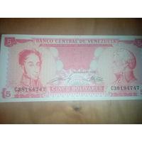 Венесуэла 5 боливаров 1989 год UNC