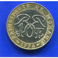 Монако 10 франков 1994 , биметалл