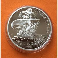 КАНАДА Proof 1 доллар 2004 г СЕРЕБРО 400 лет первому французскому поселению в Америке Корабль
