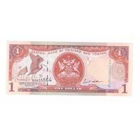 1 доллар 2002 года Тринтдад и Тобаго узкая полоса, синие цифры 4