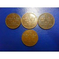 Швеция 5 эре (оре) 1911,1912,1913,1921 г.г.-цена за монету