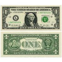 США. 1 доллар (образца 2013 года, L, Калифорния, P537, UNC)