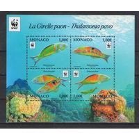 Монако WWF Рыбы 2016 год чистый полный блок