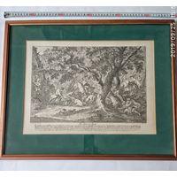 Гравюра Охота на кабана . Франция  1763 г.худ. Ридингер.