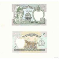 Непал. 2 рупии  1981г. подпись  UNC (леопард) распродажа