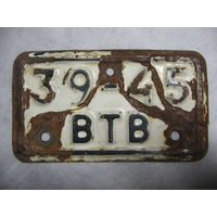 Старый велосипедный номерной знак номер
