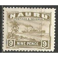 Науру. Пальмы. Пароход. 1924г. Mi#24.
