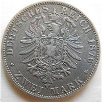 30. Пруссия 2 марки 1876 год, серебро.