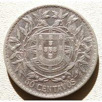 Португалия 50 центаво 1913, серебро