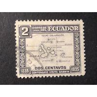 ЭКВАДОР\1646\ 1936 100 ЛЕТ ЭКСПЕДИЦИИ ДАРВИНА НА ГАЛАПАГОССКИЕ ОСТРОВА КАРТА
