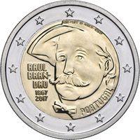 2 евро Португалия 2017 150 лет со дня рождения Раула Брандао ( из ролла)