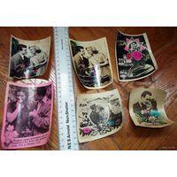 Старые фотографии-открытки с подписями. 60-е гг. 6 штук, цена за все.
