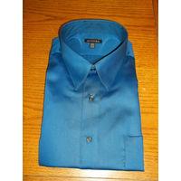 Мужская рубашка George Sateen Mens Button Down Dress Shirt Blue. М-15-15 1\2. 34-35. ЕГИПТ. РАСПРОДАЖА