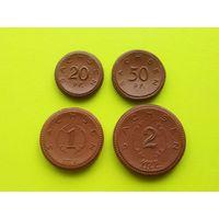 Германия, Саксония (Sachsen), нотгельды из фарфора, 20 и 50 пфеннигов, 1 и 2 марки 1921.