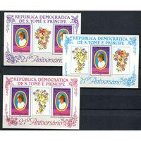 Сан Томе и Принсипи - 1982 - Диана - [Mi. bl. 92-94] - полная серия - 3 блока. MNH.