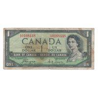 "Канада 1 доллар 1954 года. Тип P 29a (""DEVIL'S FACE""). Редкая!"