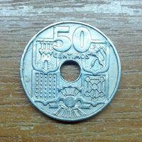 Испания 50 сентимо 1949 (в звезде 53)