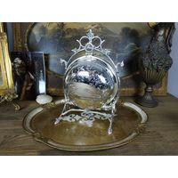 Антикварная, редкая, складная, английская, Викторианского периода бисквитница для сладостей, 19 век! Серебрение.