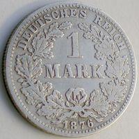 Германия, 1 марка 1876 года (F-F), Wilhelm I, Ag 900/ 5,55 грамма, KM# 7, РАСПРОДАЖА