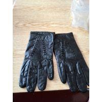 Черные мужские перчатки из натуральной кожи с затягивающимся ремешком Гродно ссср