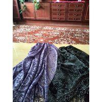 Черный и сиреневый платок с люрексом