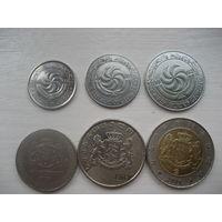 Грузия набор монет 5, 10, 20, 50 тетри 1, 2 лари