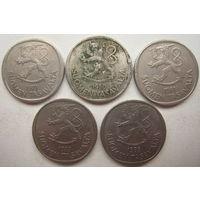 Финляндия 1 марка 1971, 1980, 1981, 1983, 1985 гг. Цена за 1 шт. (g)