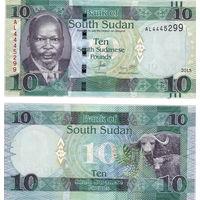 Южный Судан 10 фунтов 2015 год UNC