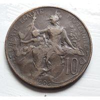Франция 10 сантимов, 1906 3-12-21