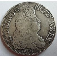 Франция 1 экю 1690 года. Отличная копия редкой монеты. Серебрение.