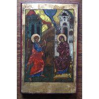 Старая икона Благовещение пресвятой богородицы размер 27х18