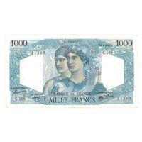 Франция 1000 франков 1945 года. Редкая! Состояние EF.